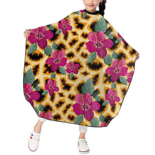 Giraffe Skin and Hibiscus Flowers Pattern Kid's Child Haircut Apron Cape Hair Cutting for Hair Salon Salon Styling -