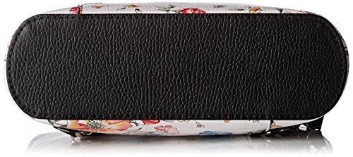 Chicca Borse Damen 80056 Schultertasche, 27x30x9 cm Mehrfarbig (Fiori/nero)