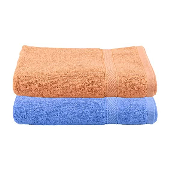 Kuber Industries 100 Percent Cotton 2 Pieces Full Size Bath Towel 30x60 (Blue & Light Brown) CTKTC33306