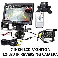 """Kit de visión trasera para coche para Bus camión con monitor LCD de 7""""+ IR cámara de marcha atrás con 18luces LED UK"""