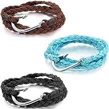 Jewelrywe 3pcs joyería de la pulsera de los hombres de las mujeres, Hook Classic, Anzuelo pulsera, Cuerda Liga, Lakeblue Negro Marrón Plata (con bolsa de regalo)