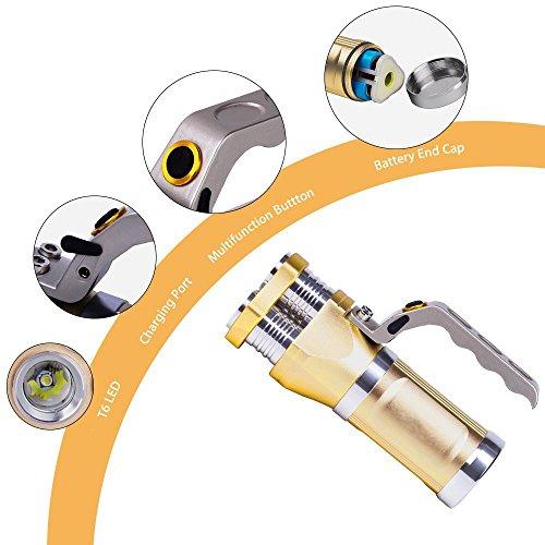 Preisvergleich Produktbild Goodsatar Wiederaufladbare LED-Scheinwerfer Taktische Taschenlampe 3 T6 9000 Lumen Scheinwerfer für Outdoor Sport oder Expedition (Golden)