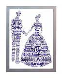 gerahmt 45. Hochzeitstag, Saphir Wort Kunstdruck A4. Foto Bild Andenken und Geschenk für Mutter, Vater, Gran, Grandad, Freund und Familie