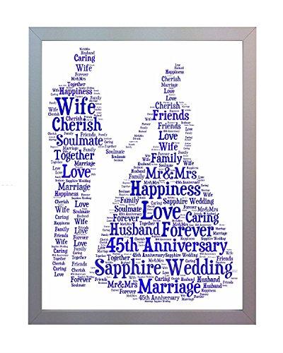 Oaktree Gifts gerahmt 45. Hochzeitstag, Saphir Wort Kunstdruck A4. Foto Bild Andenken und Geschenk für Mutter, Vater, Gran, Grandad, Freund und Familie