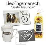 4-teiliges Geschenkset Lieblingsmensch Freundin der Welt' / Bilderrahmen / 'Lieblingsmensch' Nudeln/Tasse / Postkarte/Geburtstag