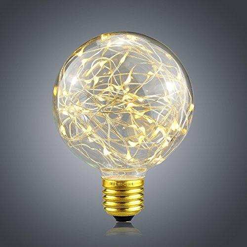 LED Edison Glühbirne G125 Globus Vintage Glühbirne Lichterkette Lampe (2W, E27, 230V) Ideal für...