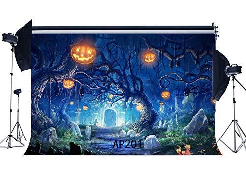 m Dünne Vinyl Fotografie Kulissen Halloween Horror Nacht Alter Baum Kürbis Nahtlose Neugeborenes Baby Kinder Kleinkinder Kinder Erwachsene Maskerade Portraits Foto ()