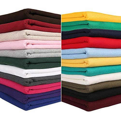 Neotrims Sweatshirt-Stoff zum Nähen In 10 Farben erhältlicher Jersey-Stoff Mittelschwerer Stoff mit gebürsteter Rückseite Von Natur aus elastisch Baumwoll-Acry-Polyester-Gemisch -