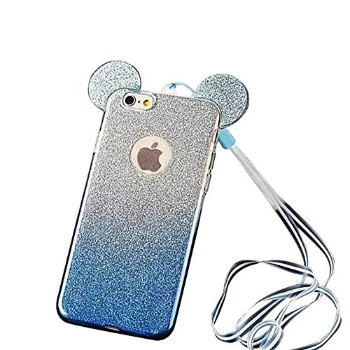 MOMDAD Souple Coque pour Apple iPhone 4 4S TPU Silicone Étui iPhone 4 4S Soft Housse Protecteur Case iPhone 4 4S Transparent Coque iPhone 4 4S Absorbant Chocs Protection Étui iPhone 4 4S Anti-Scratch  Mickey-bleu