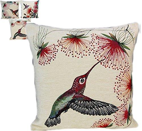 entzückende KISSENHÜLLE 45 x 45 cm Kolibri #76 Webgobelin GOBELIN KISSEN Vögel KissenBezug (#76 Kolibri)