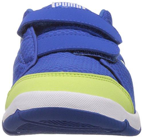 Puma Stepfleex Mesh V Kids, Baskets Basses mixte enfant Bleu - Blau (03 strong blue-sharp green)