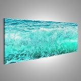 islandburner Bild Bilder auf Leinwand Große Blaue Welle auf stürmischem Meer Kli