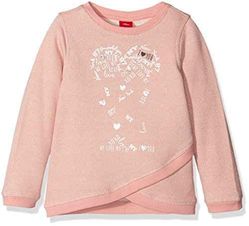 s.Oliver Mädchen Sweatshirt 53.608.41.5770, Rosa (Light Red Melange Aop 42W4), 116 (Herstellergröße: 116/122)