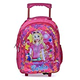 Muskan Creation Soft Fabric Wheels Trolley Multicolour Travel School Backpack for Girls