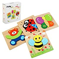 Felly Wooden Toys - 4 Pack Jigsaw Puzzles for Toddlers 1 2 3 Years Old, Boys & Girls Educational Montessori Toys Gift with 4 Animals Patterns, Bright Vibrant Color Shapes of Animal