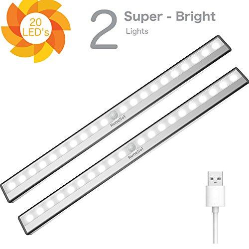 RuneSol® Lampes Détecteur de Mouvement rechargeables / 2 x 20 bandes LED lumineuses / Pack de 2 barres veilleuses super éclairantes-Bande LED sans fil Lumière d'armoire, Escalier, Placard tiroir
