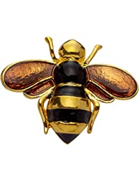 b2761d839 Jodie Rose Polished Gold Colour Metal Bee Brooch with Enamel