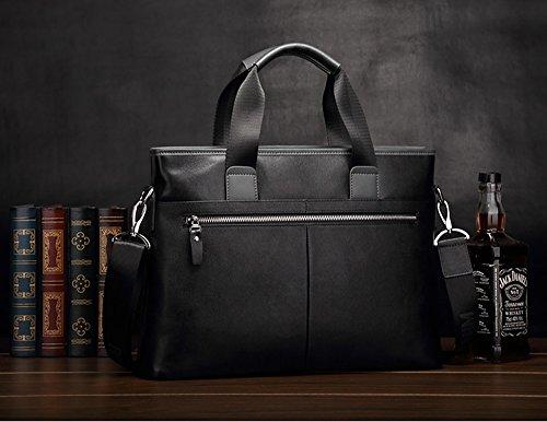 BINSON DENIM Herren Leder Aktentasche Herren Handtaschen Herren Umhängetasche Herren Laptop Tasche Hohe Qualität N2267 (Schwarz) Schwarz