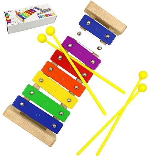 Holz-Xylophon, DigHealth Hölzernes Xylophon für Kinder, 8 Bunte Klangplatten mit 4 Kunststoff-Sticks für Sauberen Klang, Glockenspiel Pädagogische Entwicklung Spielzeug Geschenke für Babys