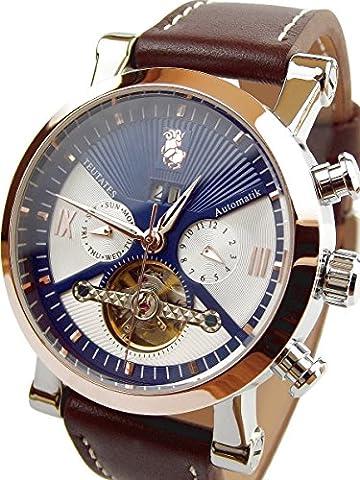 Teutates Zwölfbock 2016/C Uhr Automatik-Uhr Herren-Armband-Uhr analog mit mechanischen Uhrwerk