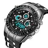FOVICN Herren Uhr Analog-Digital Quarz mit Silikon Armband F-012
