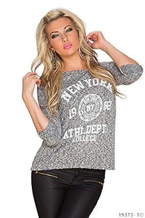 4988 Fashion4Young Damen Locker geschnittener Pullover Pulli Shirt verfügbar in 2 Farben Gr. 36/38 (36/38, Grau)
