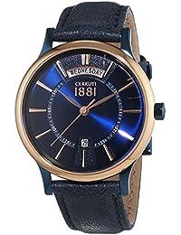 Cerruti 1881 señores-reloj analógico de cuarzo cuero VARALLO CRA128SBLR03BL