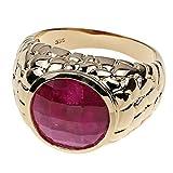 Jaipur Unisex Ring für Damen Herren 585/000 Gold Gelbgold Rubin