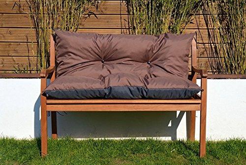 Cristal Gartenbankauflage Bankauflage Sitzpolster Bankkissen Sitzkissen und Rückenkissen Polsterauflage leicht zu reinigen 100 cm (Braun)