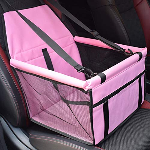 Huixing Rationelle Folding Pet Car Booster Sitz Puppy Cat Dog Auto Carrier Travel Protector Basket(None pink.) -