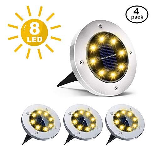 Solar-spot (Solar-Bodenlichter, 4 Stück, 8 LEDs, solarbetrieben, für den Außenbereich, wasserdichte LED-Solar-Lichter, Garten-Lichter, Erdspieß, Beleuchtung für Hof, Auffahrt, Rasen, Weg warmweiß)