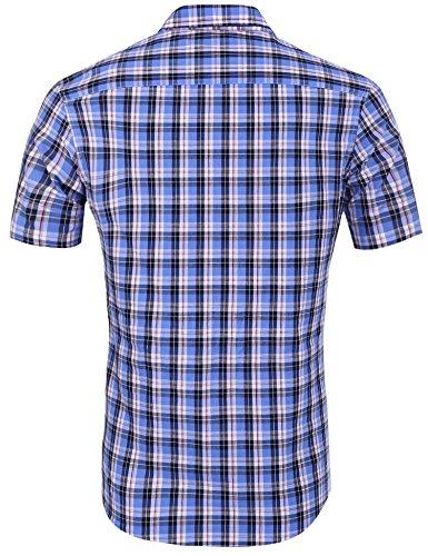 HOTOUCH Herren Hemd Kariert Kurzarm Hemd Slim Fit Karohemd Freizeithemd Casual Hemd Baumwolle Typ1-Plaid 4