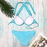 TUDUZ Damen Bikini Set Stern Dekoration Einfarbig Badeanzug Backless Bademode Strandmode Tankini Monokini Swimsuit(L,Blau)