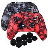 9CDeer 2 Morceaux de Silicone Transfert d'eau Protecteur Manche Cas Couverture Peau Cover Skin + 8 Poignées de Pouce Thumb Grip Casquettes analogiques pour Xbox One/S/X Manette, Crâne noir et rouge