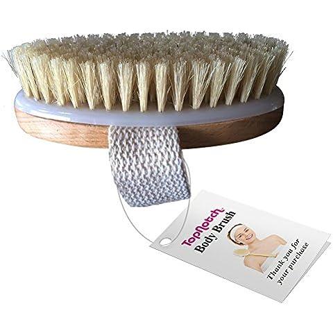Cepillo para cuerpo seco con cerdas naturales. Bolsa de viaje de tela de guante de lavado. Libro electrónico sobe cepillado de
