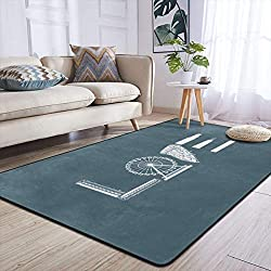 Heteyys Love New York Indoor Floor Mat Living Room Household Carpet Children Play Mat Rectangle Carpet 84x60 in,Black,One Size