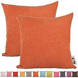 plandvPLANDV® - color sólido rayas de maíz pana funda de cojín, ( 2unidades, diseño a rayas, de pana, disponibles en diferentes 19colores y 6tamaños, Naranja, 40 x 40 cm