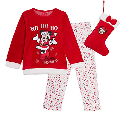 Disney minnie mouse pigiama in pile con calza di natale in confezione regalo rosso. 4 anni