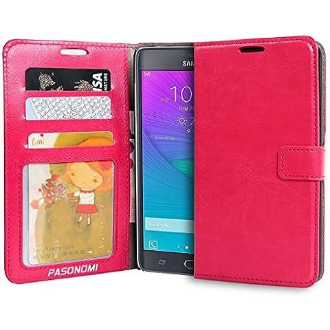 Pasonomi® Funda Cartera Samsung Galaxy Note Edge de Cuero Ultra Fino con Tapa con Ranuras para Tarjetas para Samsung Galaxy Note Edge (Rosa)