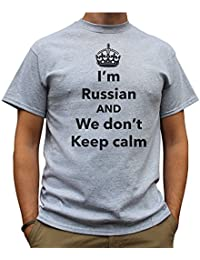 Nutees I'm Russian And We Don't Keep Calm Funny Mens T Shirt - Sports Grey
