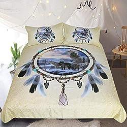 UMOOIN Lobo de la Nieve Ropa de Cama Set 3 Piezas, Bohemia Dreamcatcher Pluma de la India Vida Silvestre Diseño, Decoración Funda nórdica con 2 Funda de Almohada, Amarillo,Twin173cmx218cm