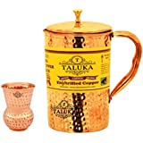 Taluka Pure Handmade Hammered Copper Jug For Water Drinking Brass Top Jug Pitcher Capacity 1500 Ml With Pure Copper Round Bottom Hammered 300 ML Water Glass (Mathat Dholak Glass).