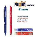 Pilot FriXion Ball Clicker - Penna roller a scatto con inchiostro gel cancellabile, (Set con penna blu, penna rossa, 3 refill blu, 3 refill rosso)