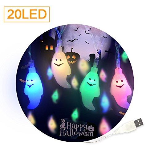 Geist LED iitrust Halloween Lichterkette Stromversorgung über USB 3D Halloween Lichterkette 2 Mitter 20er LED (Mehrfarbig Geist (Geist C Halloween)