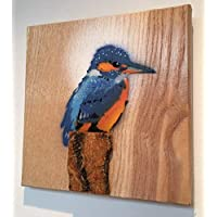 Kingfisher Bird Stencil Art Painting | Handmade Spray painted Picture on Ash wood | Fathers Day gift | Ideal for Him or Her | Birthday gift for Dad Grandma or Grandad | Handmade in UK size 14 x 12cm