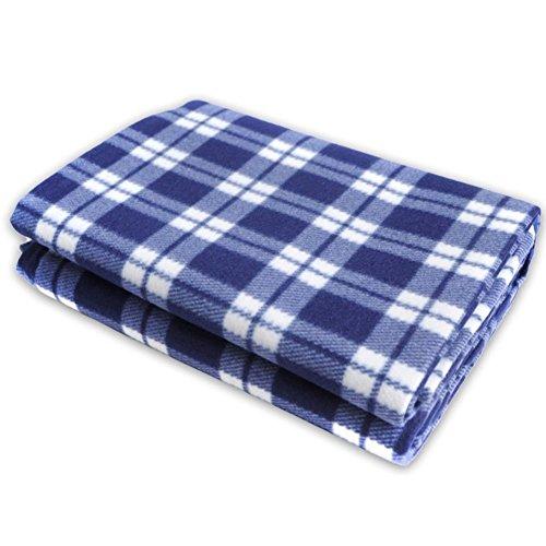 HM&DX Größe Wasserdicht Picknickdecken,Fleece Feuchtigkeitsbeständig Outdoor Picknickdecke campingdecke Leicht Faltbar Picknick-Matte Pad für Beach-Rasen-Reisen-Blau 250x150cm(98x59in) Canvas Fleece