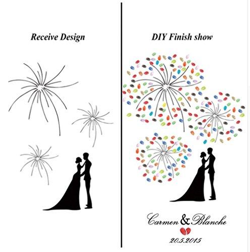Eccezionale Hommie Vintage matrimonio impronte digitali Firma Guestbook – Tela  FD13