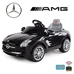 crooza *2x Motoren* Soft-Start Original Mercedes-Benz AMG SLS Lizenz Kinderauto Kinderfahrzeug (SCHWARZ)
