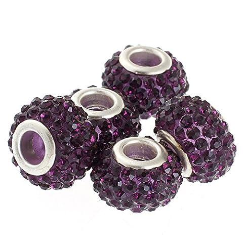 Rubyca gros trous 15mm cristal Charm perle pour bracelet charms européens, violet, 100 PCS