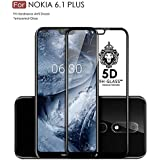 FASHIONISTA Nokia 6.1 Plus Edge-to-Edge 5D Tempered Glass Screen Protector for Nokia 6.1 Plus (Pack of 1, Black)